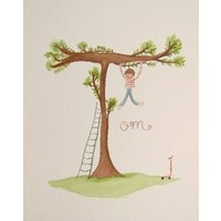 Personalised Boy And Tree Name Painting, Brown/Red/Black