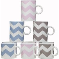 Chevron Mugs, Blue/Pink