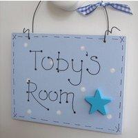 Personalised Door Plaque| Children's Door Sign, Blue/Pink