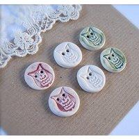 Handmade Porcelain Owl Buttons