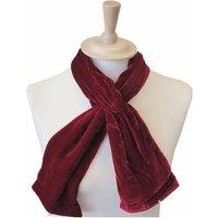 Silk Velvet Button Scarf, Black/Teal/Red