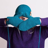 Organic Cotton Crochet Mittens, Black/Teal/Wine