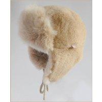 Alpaca Fur Trapper Hat For Children, Ivory/Chocolate/Champagne