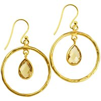 Hoop Earrings Citrine And Gold, Gold