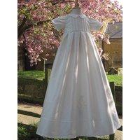 Christening Gown Birth Flower, White/Ivory