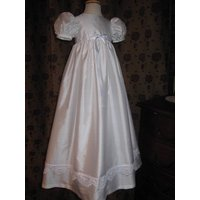 Christening Gown Jessie Silk Gown, White/Ivory