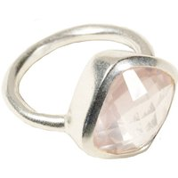 Square Rose Quartz And Silver Ring, Silver