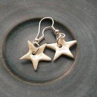 Handmade Porcelain Star Dangle Earrings