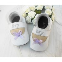 Personalised Bow Christening Shoes, White/Cream/Grey
