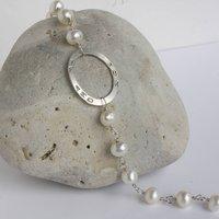 Handmade Personalised Pearl Bracelet, White/Silver/Grey