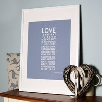 Art Deco 'Love Is Patient' Canvas Print, Blue/Grey/Sage