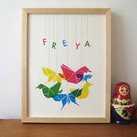 Personalised Origami Bird And Butterfly Print