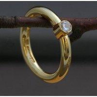 18 Carat Gold And Diamond Handmade Ring, Gold