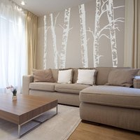 Silver Birch Trees Vinyl Wall Sticker, Yellow Orange/Yellow/Orange