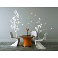 White Trees With Falling Leaves Wall Sticker, Gold/Silver/Black