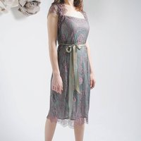 Lace Occasion Dress With Forties Neckline Moth Pink, Pink
