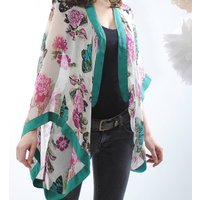 Ivory Butterfly Georgette Silk Shrug