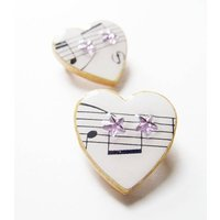 Star Music Heart Brooch, Gold/Silver/Lilac