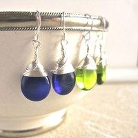 All Wrapped Up Teardrop Glass Earrings, Olivine/Emerald/Green