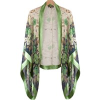 Green Fleur Print Silk Shrug