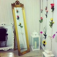 Antique Style Standing Mirror, White/Silver/Black