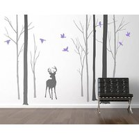 Deer In The Forest Two Tone Grey Wall Sticker, Grey/Pink/Purple