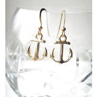 Gold Plated Anchor Earrings, Gold