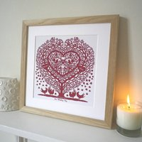 Personalised Songbird Tree Heart Print, Rose/Grey/Midnight Blue
