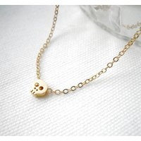 Gold Plated Skull Necklace, Gold