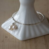 Silver Freshwater Pearl Bangle, Silver