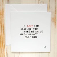 'I Love You Because...' Card