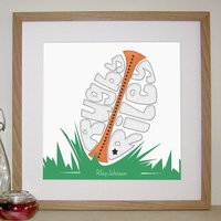 Personalised Rugby Print, Black/Grey/Cream