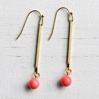 Gemstone Stick Earrings, Coral/Jade/Royal Blue