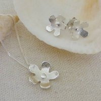 Silver Flower Pendant And Stud Earrings Set, Silver