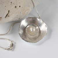 Handmade Silver Pearl Necklace, Silver