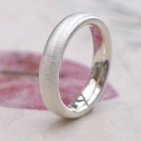 Sterling Silver Ring With Spun Silk Finish, Silver