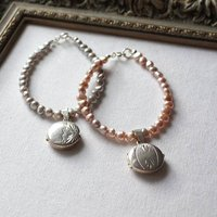 Round Locket Pearl Bracelet, Pink/Grey