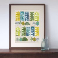 New York Brownstones Art Print