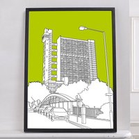 Trellick Tower Graphic Print, Aubergine/Blue/Brown
