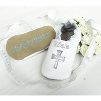 Personalised Keepsake Christening Shoes, White/Cream/Light Blue