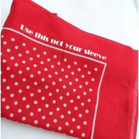 'Use This Not Your Sleeve' Spot Handkerchief, Red/Navy Blue/Navy
