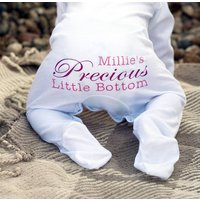 Personalised Precious Baby Grow Romper, Dark Pink/Pink/Light Pink