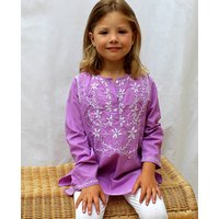 Girls Lilac Embroidered Cotton Kaftan