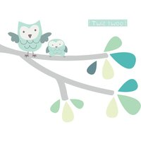 Twit Twoo Fabric Branch Wall Stickers, Pink/Blue/White