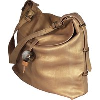 Large Leather Hobo Handbag With Adjustable Handle, Blue/Gold/Black