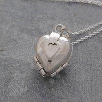 Heart Clover Motif Silver Locket Necklace, Silver