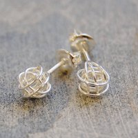 Tiny Sterling Silver Nest Stud Earrings, Silver