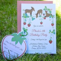 Party Invitation With Strawberries And Donkeys, Pink/Green