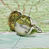 Personalised Silver Plated Vintage Map Cufflinks, Silver