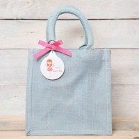 Personalised Fairy Key Ring Jute Gift Bag, Cerise Pink/Cerise/Pink